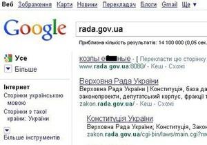 Хакеры заставили Google обматерить Верховную Раду