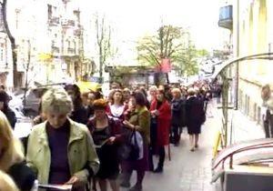 Рекордная очередь в центре Киева