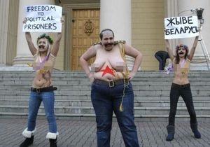 Активистки FEMEN провели акцию протеста возле здания КГБ Беларуси