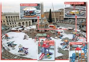 В Киеве на Майдане открылись детский парк развлечений и ледовый каток
