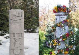 На Софийской площади Киева неизвестные отрубили голову памятнику Световиду