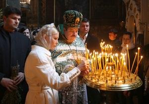 Тимошенко посетила Божественную литургию во Владимирском соборе