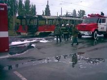 В Киеве за 18 секунд полностью сгорел трамвай