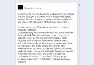 Новость об изменении норм копирайта в Facebook взбудоражила пользователей