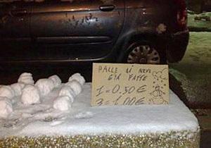 В Неаполе неизвестные пытались продать снежки