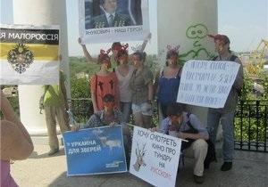 В Одессе за Партию регионов митинговали  олени