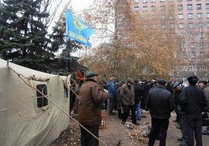 В Донецке в палаточном городке чернобыльцев милиция составляла протокол