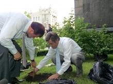Ющенко с Балогой сажали калину под зданием Секретариата