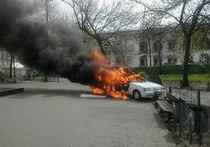 В Киеве сгорел автомобиль, который продавал кофе