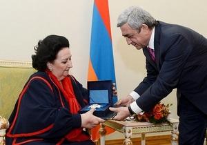 Армения наградила орденом ставшую персоной нон грата в Азербайджане Монсеррат Кабалье