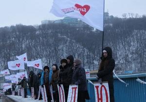 Дело Тимошенко - День Соборности - В честь Дня Соборности сторонники Тимошенко провели акцию поддержки на мосту Метро в Киеве
