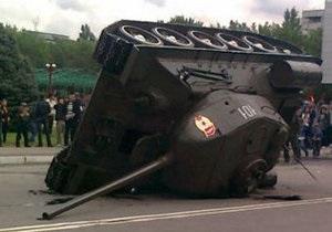 Было скользко: в Бишкеке объяснили, почему в День Победы перевернулся танк