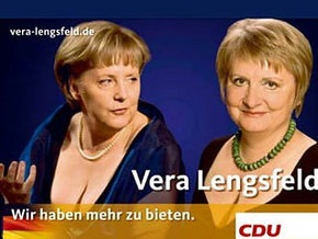 Правящая партия Германии использует грудь Меркель в предвыборной гонке