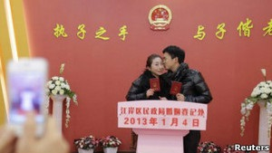 В Китае - брачная лихорадка  счастливой даты