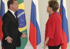 Президент Бразилии пришла на встречу с Медведевым без одной туфли