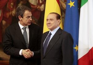 Берлускони покинул пресс-конференцию в Риме, переадресовав все вопросы своему испанскому коллеге