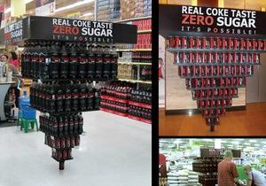 Для Coke Zero в супермаркетах установили перевернутые пирамиды