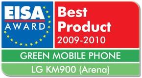 Мобильный телефон LG ARENA удостоен награды европейской ассоциации EISA за свои экологические характеристики