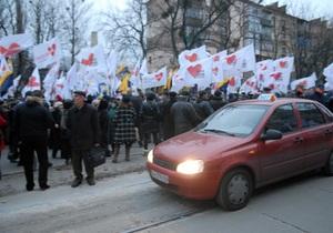 Около пяти тысяч участников акции Вставай Украина! перекрыли движение в Виннице