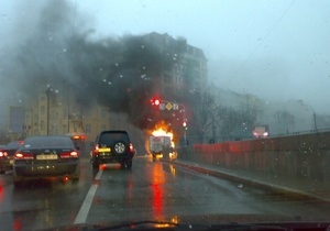 В центре Киева горел грузовик