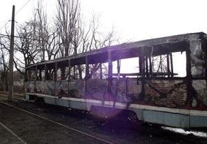 В Горловке сгорел трамвай