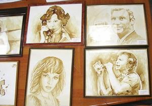 Днепропетровские художники нарисовали кофейным раствором портреты Кучмы, Ступки и Кличко