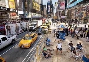 На Таймс-сквер в Нью-Йорке появился пляж