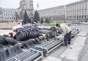 Газета по-киевски: В центре Киева начали заливать ледовый каток