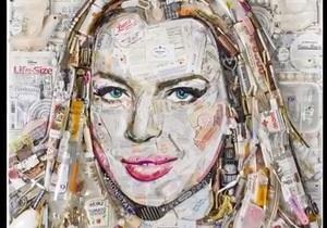 Художник создал портрет Линси Лохан из мусора