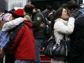В Нью-Йорке прошла репетиция новогоднего поцелуя