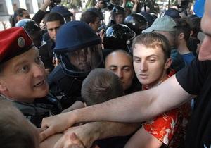 Один участник потасовки с Беркутом у Верховной Рады остается задержанным