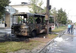 В Луганской области сгорел автобус