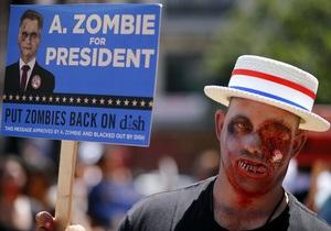 Фотогалерея: Зомби идет в президенты. Рекламная акция американской телекомпании