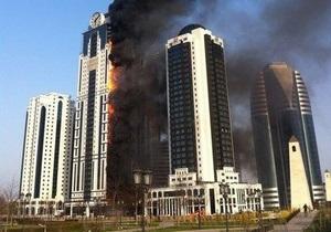 Небоскреб в Грозном почти полностью охвачен огнем. Квартира Депардье не пострадала