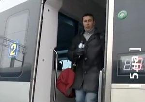 Репортаж 5 канала из замерзшего поезда Hyundai