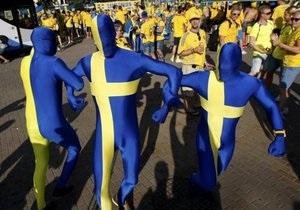Четыре тысячи шведских фанов прошли маршем по центру Киева
