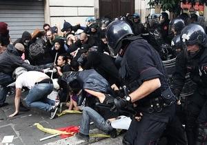 Беспорядки в Риме: Полиция разгоняет акции протеста, один полицейский пострадал