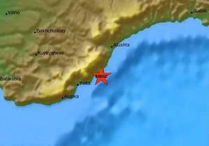 В Черном море близ Южного берега Крыма произошло землетрясение