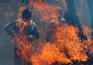 новости Донецкой области - новости Мариуполя - сожжение флага - Милиция Мариуполя расследует инцидент сожжения флагов Израиля и США
