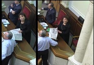 Рада - кнопкодавы - Бахтеева - Партия регионов - Прикрылась газеткой: Журналисты уличили Бахтееву в голосовании за коллегу