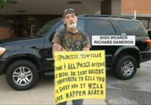 Новости США - странные новости: За угрозы полиции американца наказали табличкой  идиот