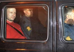 Норвезька влада має намір найняти людей, з якими Брейвік відбуватиме покарання в тюрмі