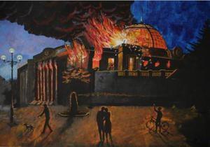У Києві виставляють картину Верховної Ради у вогні