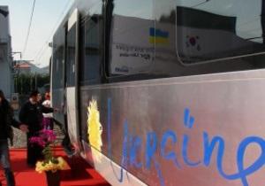 Украина получила первый скоростной поезд Hyundai с логотипом Евро-2012