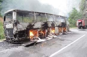 В Черногории загорелся автобус с российскими туристами