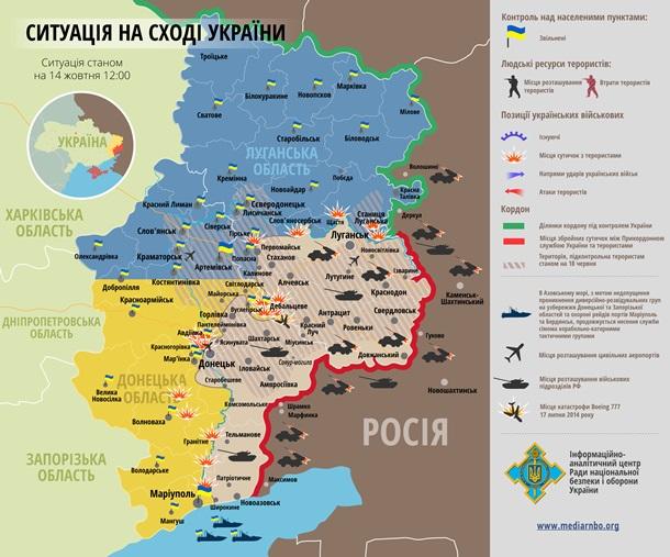Карта АТО за 14 октября:Обстрел Песков, Дебальцево, Авдеевки