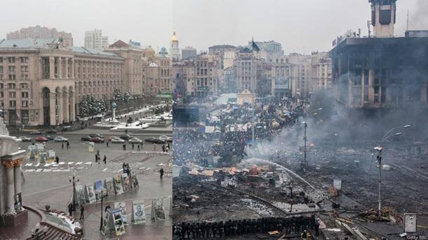Фотоколлаж: Прошел год после расстрела Майдана