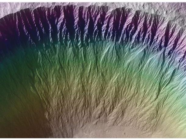 Еще следы кипящей воды на Марсе.