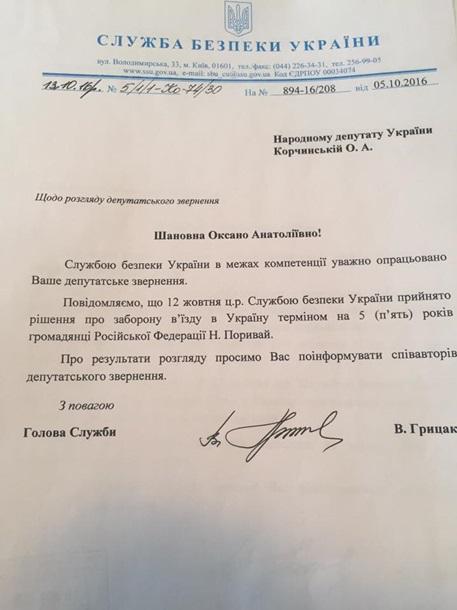 Наташе Королевой запретили въезд в Украину – Корчинский