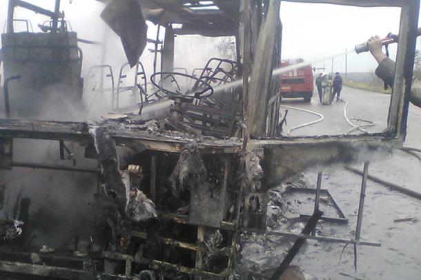 НаХарьковщине впериод движения зажегся рейсовый автобус